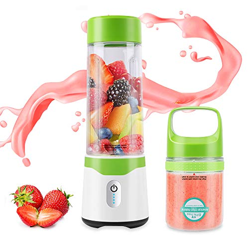 Portable Personal Size Blender - Mini Blender for Shakes and Smoothies with 6 Stainless Steel Powerful Blades, Fruit Juice Food Handheld Blenders Mixer with USB Rechargeable BPA Free Double Cups, 300ml/500ml, Green