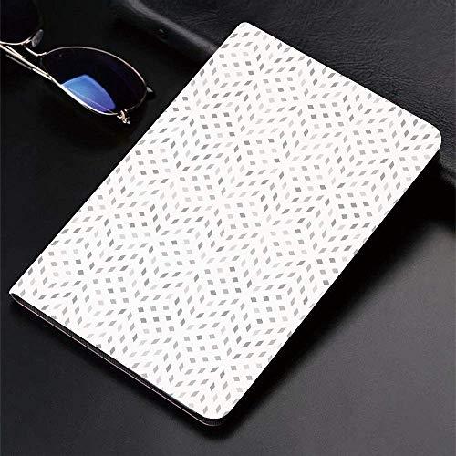 Funda para iPad (9,7 pulgadas, modelo 2018/2017, 6.a / 5.a generación) Funda inteligente ultradelgada y liviana, gris y blanco, motivo de mosaico geométrico en forma de diamante Mínimo artístico digit