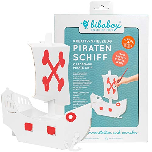 Bibabox | Kleines Piratenschiff aus Stabiler Pappe | Pappschiff | Bastelset | 100% Öko | 100% Made in Germany