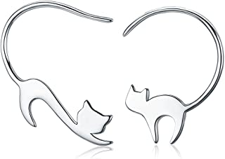 GDDX Animal Collection 925 Sterling Silver Cute Napping Little Cat Drop Earrings for Women Sterling Silver Jewelry Gift
