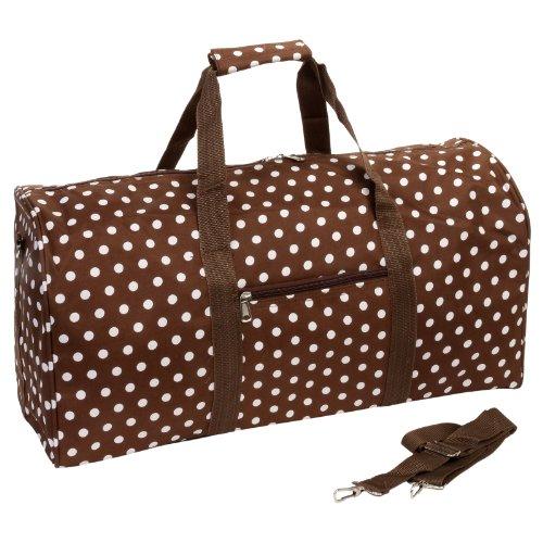 22' Brown w/ White Dots Polka Dot Carry On School Gym Teen Womens Duffel Bag