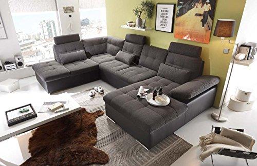 lifestyle4living Wohnlandschaft (XXL) mit Schlaffunktion & Bettkasten, Braun/Schwarz, Webstoff, Kunstleder | Gemütliches U-Sofa mit Kopfstützen & Armlehnenverstellung