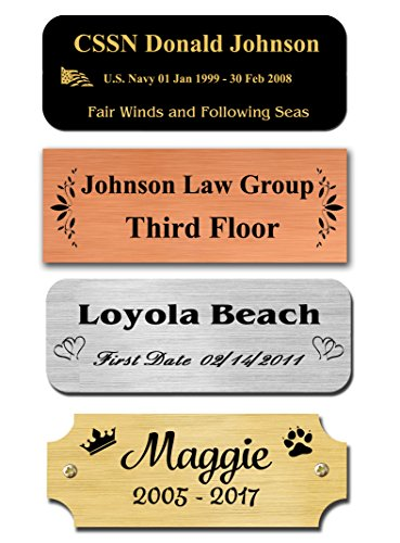 0.75' H x 2' W, Brass Nameplates, Metal Plate, Personalized, Custom Engraved Tag, Name Plaque, Square Rounded or Notched Corners, Made in USA