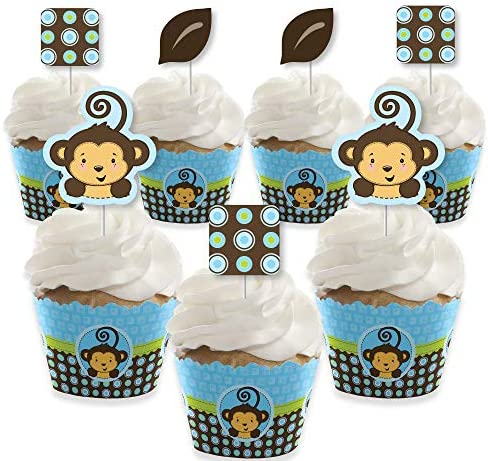 Big Dot of Happiness Blue Monkey Boy Cupcake Decoration Baby Shower or Birthday Party Cupcake product image