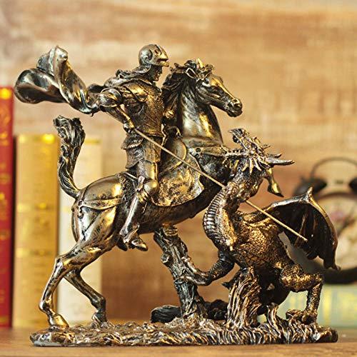YXYSHX Escultura Escultura Esculturas de Cabeza Coleccionables Decorativos Estatua de Caballero Arte Animal Escultura Resina Arte y artesanía Decoración de Escritorio Oficina