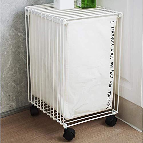 JSMY Aufbewahrungswagen Lenkrollen Metall Einfaches Auto Multifunktions-Wäschekorb Sofa Beistelltisch Badezimmer Wohnzimmer TIDLT(Farbe:Weiß,Größe:32x28x49cm)