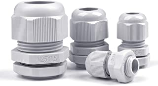 OFNMY 32 pcs Cable Glándulas M12, M16, M20, M25 x 1.5 Caja de Conexiones IP68 Impermeable Conector de la Prensaestopas de Plástico Ø 6mm-25mm (Gris)