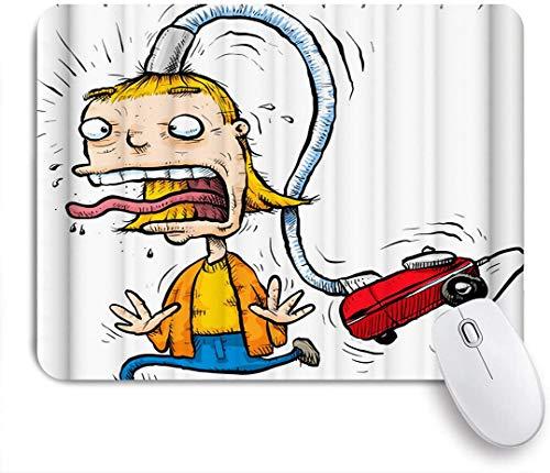 Benutzerdefiniertes Büro Mauspad,Lustiges Männerhaar wird von einem Auto-Staubsauger-Cartoon-Muster-Druck weggesaugt,Anti-slip Rubber Base Gaming Mouse Pad Mat