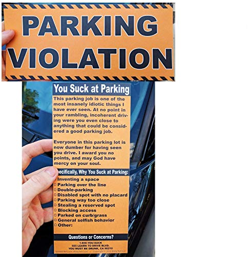 Full-Size Fake Parking Ticket by Witty Yeti 20 Pack. Both Realistic & Hilarious. Punish the Idiots Who Park Like Aholes. Hilarious Prank, Gag Gift & Stocking Stuffer. Its Time for Justice!