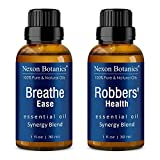 Nexon Botanics Breathe Ease and Robbers' Health Essential Oil Blends - Soothes Nasal Congestion, Seasonal Cough, and Stuffiness - Supports Immunity - Perfect for Aromatherapy