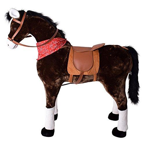 TE-Trend Pferd Reitpferd mit Sattel Zaumzeug und Tuch 114 cm Länge braun weiße Fesseln