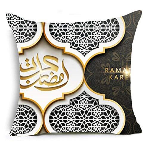 QPOWY Funda Algodón Ramadán Cojín Decorativo Lino Linterna Eid Regalos Mubarak Decoraciones para el hogar Almohadas Funda para Sofá