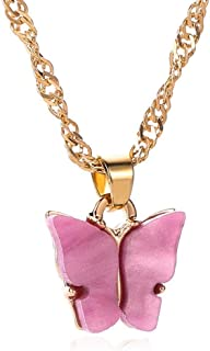 BAILIANHUA Acrylic Color Butterfly Necklace Clavicle Chain Pendant Necklaces Women Jewelry