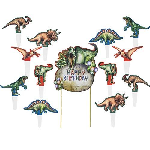 SNOWZAN Tortendeko Dinosaurier Dinosaurier Tortendeko Dinosaurier Kuchen Topper Dinosaurier Cake Topper Dino Cupcake Toppers Tier Cocktailspieße Tortendeko Geburtstag Junge Cake Toppers für Dinoparty
