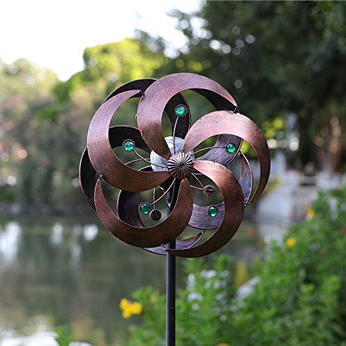 HDNICEZM Solar Wind Spinner Improved 360 Degrees Swivel Multi-Color LED Lighting Glass Ball with Kinetic Wind Spinner Vertical Metal Sculpture Stake Construction for Outdoor Yard Lawn & Garden