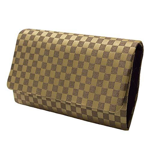 マチ付き数珠袋 市松柄 茶色 約16×9.5cm (l190)