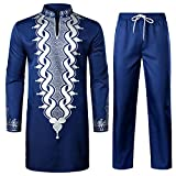 LucMatton Men's African 2 Piece Set Long Sleeve Gold Print Dashiki and Pants Outfit Traditional Suit Navy White X-Large