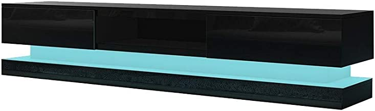 TV Stand Cabinet Storage CHigh Gloss Front Wood Entertainment Unit Modern RGB LED Light Black 180CM