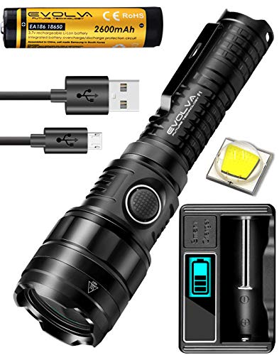 Tactical Taschenlampe LED USB Aufladbar Zoombar mit einstellbarem Fokus-Heckknopfschalter