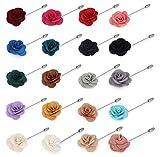 Hanpabum 20 Pieces Men's Lapel Pins Handmade Camellia Flower Boutonniere Stick for Suits Wedding