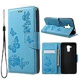 jbTec Handy Hülle Hülle Schmetterlinge passend für Huawei Honor 5C - Schutz Tasche Smartphone Flip Cover Phone Bag Klapp, Farbe:Blau