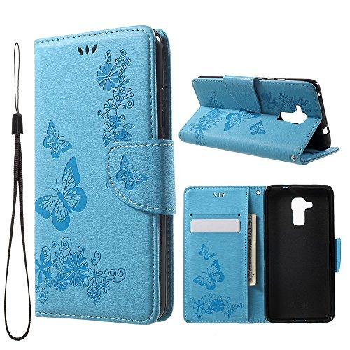 jbTec Handy Hülle Hülle Schmetterlinge passend für Huawei Honor 5C - Handyhülle Schutzhülle Phone Cover Tasche Handytasche Zubehör Smartphone Flip, Farbe:Blau