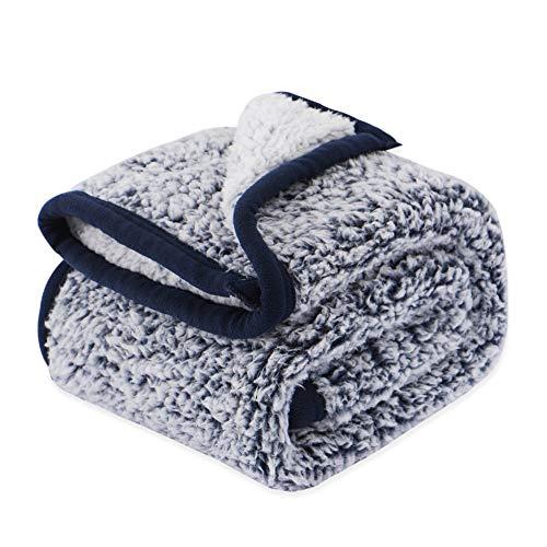 EMME Sherpa Blanket Plush Soft Baby Blanket Warm Cozy Toddler Blanket Kids Sleeping Blanket Throw Blanket Nap Blanket Fuzzy Blanket for Crib, Stroller, Travel, Outdoor, Decorative (Navy, 30