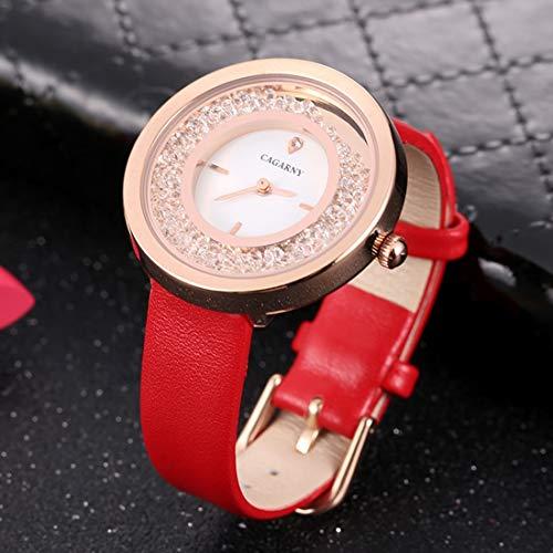 Somviersb 6878 Moda Resistente al Agua Reloj de Pulsera de Cuarzo con Banda de Cuero Relojes de Pulsera de Acero Inoxidable Reloj de Brazalete de Cuarzo de Cristal Reloj a Prueba de Agua para Caminar