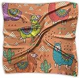 Pañuelo de bolsillo de poliéster con diseño de ovejas de alpaca y cactus, cuadrado, de seda, mulipurposa, impresión delicada