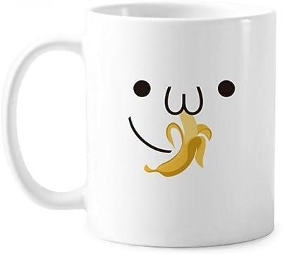 【白陶器クラシックマグカップ350 ml】可愛い顔文字バナナを食べる・発現された顔・ハンドル付き