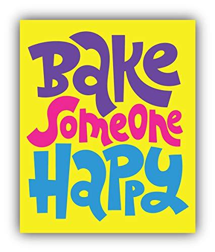 Bake Some Happy Cooking Slogan - Self-Adhesive Sticker Car Window Bumper Vinyl Decal Decalcomania per Auto Adesivo