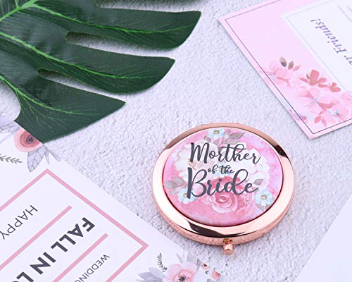 Miroir de poche compact Bride to Be - Cadeau de demoiselle d'honneur - Rose doré - Motif floral - Cadeau de mariage (mère de la mariée)