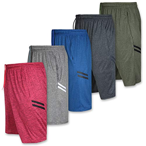 Mens Quick Dry Fit Dri-Fit Active Wear Athletic Performance Basketball Tennis Soccer Running Essentials Gym Casual Workout Tech Shorts-Set 8-5 Pack, Medium