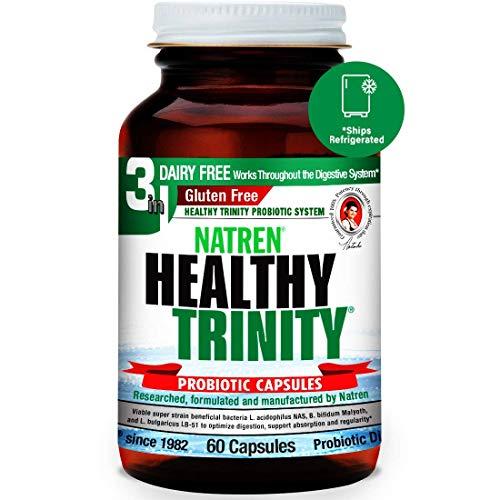 Natren Healthy Trinity Probiotics Supplement - 60 Dairy and Gluten Free Gel Capsules - Improve Gut and Digestive Health, - 30 Billion CFU - Lactobacillus Acidophilus, Bifidobacterium, Bulgaricus