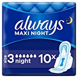 Always Maxi Night Damenbinden mit Flügeln Gr.3 (10 Stück) super saugfähriger Kern und...