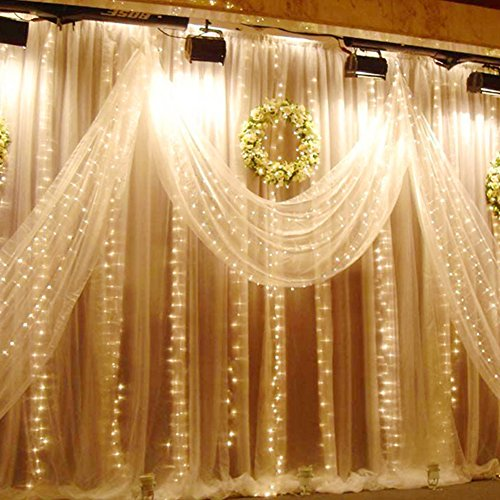 Auelife Curtain Icicle Lights, 19.5ft x 9.8ft 600 LED Fairy String Lights with 8 Modes for Wedding Christmas Holiday Party Home Decoration, UL Listed(Warm White)