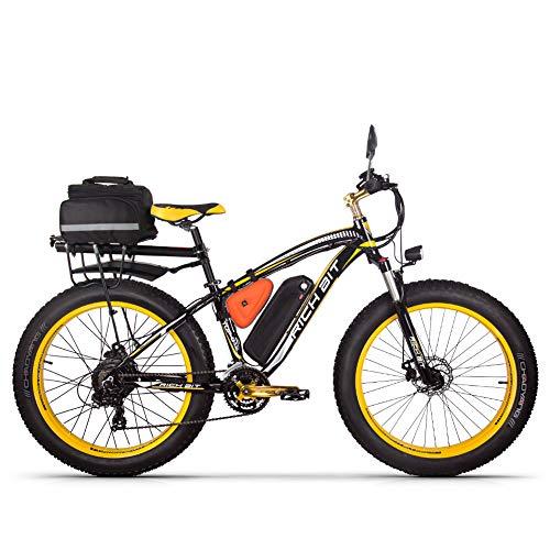 Rich bit RT022 - Bicicleta eléctrica híbrida para Hombre de montaña (1000 W, 48 V, 17 A, Soporte de Carga USB LCD Inteligente y neumáticos Grandes), Amarillo