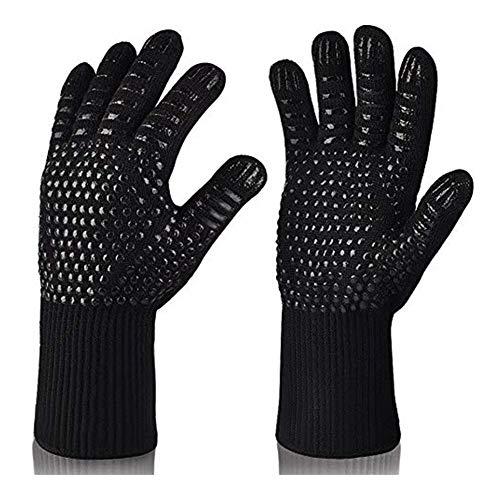 Montague Mond0 Hitzebeständige Grill Handschuhe Premium-Insulated Durable Feuerbeständige for Kochen Backen Grillen Topflappen (Color : 2 Pieces Black)