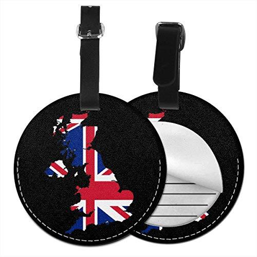 Etichette rotonde per bagagli con bandiera inglese, in pelle, per valigia, set da 2