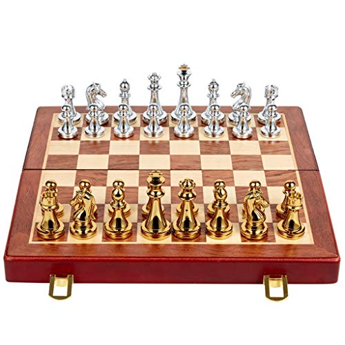 WYDA Chess Metal Folding Chess Set,Standard Chess Game Set,Gift for International Chess Lovers/Beginner and Learners Traditional Strategy Game ( Color : A )