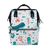 Mochila escolar para laptop, mochila para computador, estampa de animais marinhos, impermeável, faculdade, casual, multiuso, com bolsa de trabalho para viagem