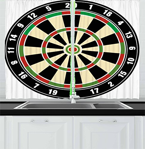 """Ambesonne Sports Kitchen Curtains, Dart Board Numbers Sports Accuracy Precision Target Leisure Time Graphic, Window Drapes 2 Panel Set for Kitchen Cafe Decor, 55"""" X 39"""", Vermilion Green Black"""