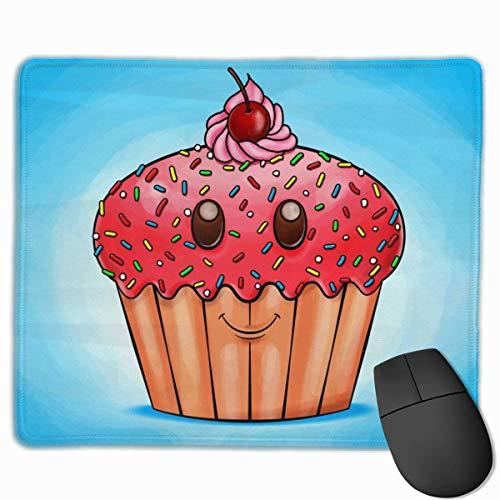 Postre o Pastel Sonrisa Rectangular Antideslizante Alfombrilla de ratón para Juegos Teclado Alfombrilla de ratón de Goma para portátiles de hogar y Oficina 25x30cm