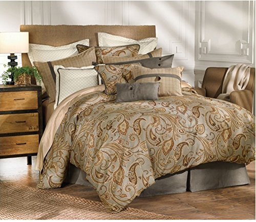 Read About 4 Piece Elegant Paisley Design Comforter Set King Size, Featuring Luxury Floral Leaf Pattern Comfortable Bedding, Stylish Traditional Sophisticated Adult Bedroom Decoration, Brown, Gold, Multicolor