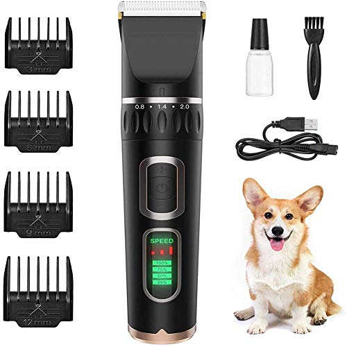 FGVBC Pet Clippers, Pet Clippers Low Noise Rechargeable Pet Shaver Cordless Silent Dog Hair Trimmer Best Hair Clipper for Dogs Cats Pets