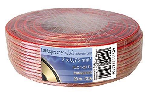 Transmedia klc1–20tl cavo per altoparlante, 2X 0,75mm² CCA Conduttore Interno