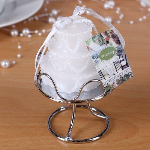 Mactrade-Candela bianca 'Torta nuziale', ca. 5,5 x 5 cm, Candela Wedding Cake Bianca + Alzatina Portacandela Segnaposto Matrimonio Torta