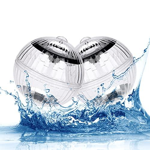 Punvot Solar Schwimmende, Solar Schwimmkugel Pool Licht Wasserlicht Poolbeleuchtung Wasser Schwimmende Lampen Unterwasser Licht Teichbeleuchtung für Garten Baum Swimming Pool Teich Dekoration 2 Stück