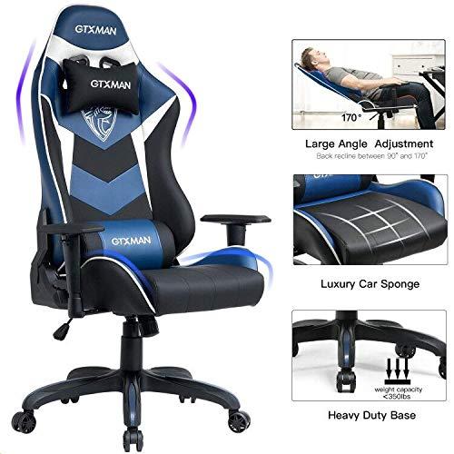GTXMAN Gaming Chair Racing Style Office Chair Video Game Chair Breathable Mesh Chair Ergonomic Heavy Duty 350lbs Esports Chair Blue (LightBlue) blue chair gaming Whale