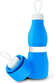Biange Collapsible Water Bottle 24oz, BPA Free Foldable FDA Approved Sports Silicone Leakproof Water Bottle for Travel, Hiking, Cycling, Gym, 700ml